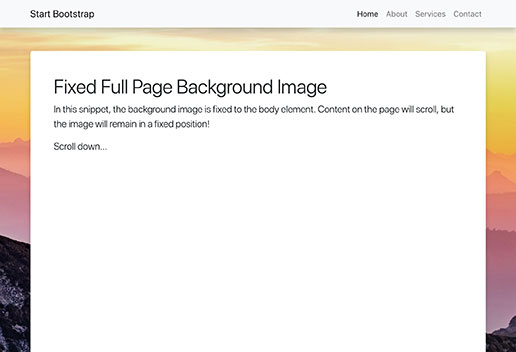 Full Page Image HTML Background for Bootstrap