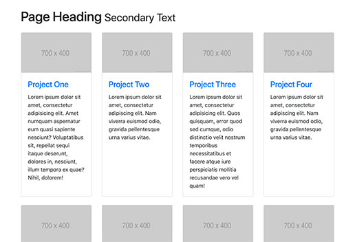 Bootstrap 4 Four Column Portfolio Layout