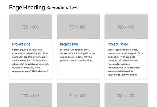 Bootstrap 4 Three Column Portfolio Layout