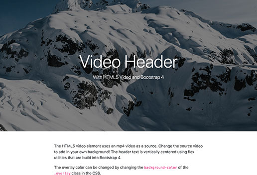 Bootstrap Header with HTML5 Video Background